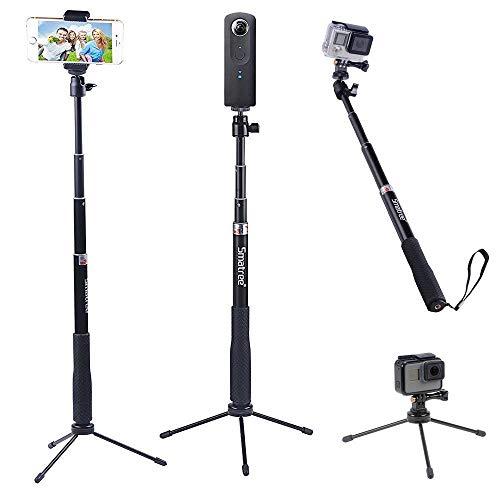 Smatree 【2020多機能アルミ自撮り棒 三脚 スタンド付き】 シータ 自撮り棒 三脚 スタンド付き GoPro Hero 9/8/7/6/5/4/3+/3/Session/Fusion/GOPROヒーロー2018/DJI OSMOアクションカメラ、SJCAM、AKASO、Xiaomi Yi、携帯電話に対応 防水 QS