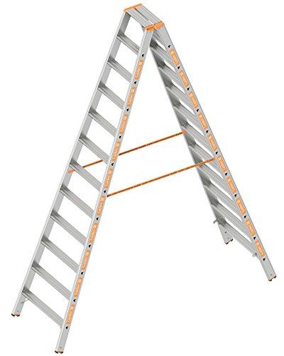 Layher 1043012 Stufenstehleiter Topic 12 Aluminiumleiter 2x12 Stufen 80 mm breit, beidseitig begehbar, klappbar, Länge 3.00 m