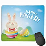 Happy Easter Mouse Pad for Laptop Rectangular Non-Slip Gaming Mousepad Easter Bunnies and Egg Custom Home Office Computer