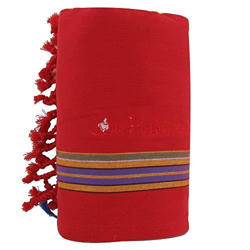 LES POULETTES Kikoy Strandtuch Baumwolle - Farbe Rot Schwamm Blau