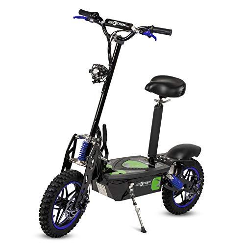 Aspide - Patinete/Scooter eléctrico dos ruedas, con sillín, plegable, luz LED frontal, motor 2000W, velocidad hasta 45-50Km/h, autonomía hasta 25-30Km. Ideal para paseos urbanos. Color negro-azul.