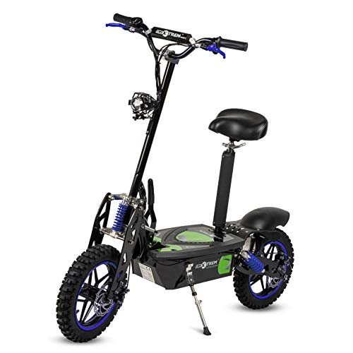 Aspide - Patinete/Scooter eléctrico dos ruedas, con sillín, plegable, luz LED...