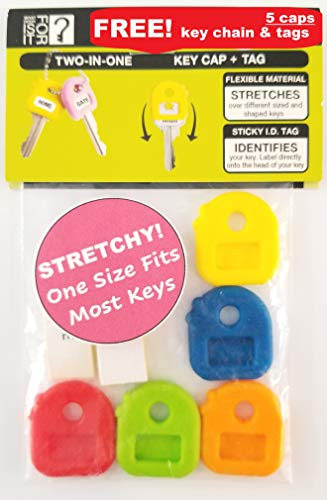 Key Caps Tags - Stretchy All-in-One Key Cover & Tags - ONE Size FITS Most Keys - Includes Blank Labels and Printed Labels - Key Covers, Name Tags, Identify Tag (Pastel 4 Pack)