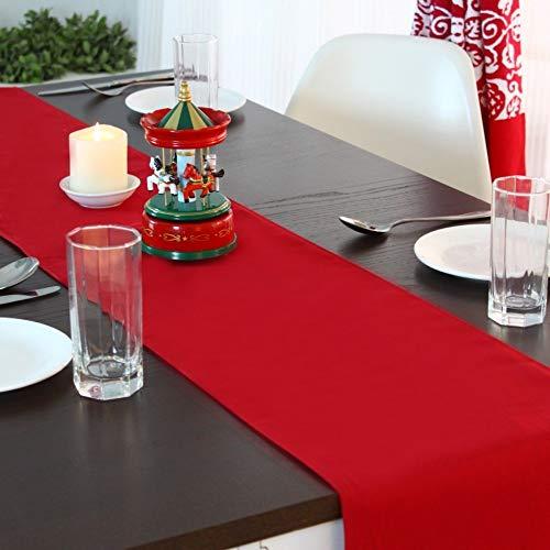 chemin de table, grand drapeau de table de coin plat maison simple couleur rouge uni, 30 * 180cm
