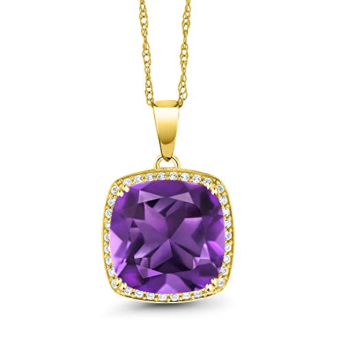 Gem Stone King 10K Yellow Gold Purple Amethyst and White Created Sapphire Pendant Necklace For Women (6.74 Ct Cushion Cut with 18 Inch Chain)