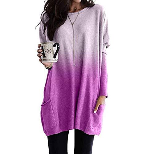 Camisetas de manga larga Chicas adolescentes corbata tinte gradiente suelto casual manga larga caída caída de caída bloqueo con capucha para mujeres ( Color : Light Purple , Size : Small Size )