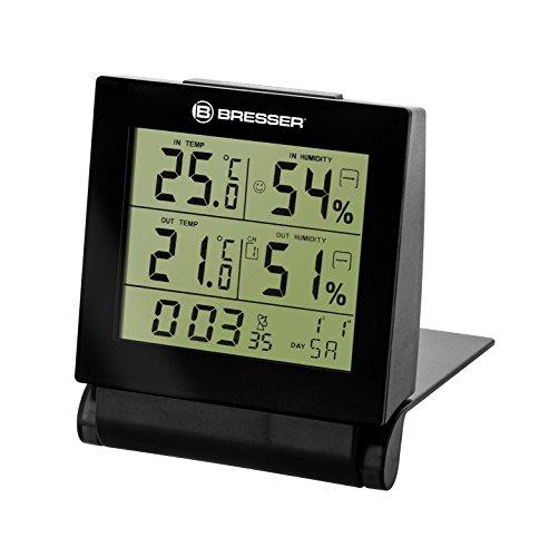 Bresser Wetterstation MyTime Travel Reisewecker mit Außensensor für Temperatur- und Luftfeuchtigkeitsanzeige, blauer Hintergrundbeleuchtung und Klappfunktion, schwarz
