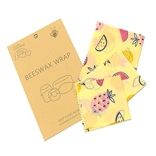 3 stks Bijenwas Voedsel Wrap, Natuurlijke Ingrediënten Waxed - Milieuvriendelijk Herbruikbaar Voedsel Wraps Wasbaar Organisch Perfect voor Keuken Brood Groenten