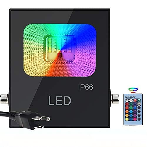 Huamai LED Garden Flood Lights RGB Color Changing Security Lights 10w?Remote Control?IP66 Waterproof for Outdoor and Indoor Timing?Multi Colors Multi Modes for Garden Stage Lighting (10W-no app)