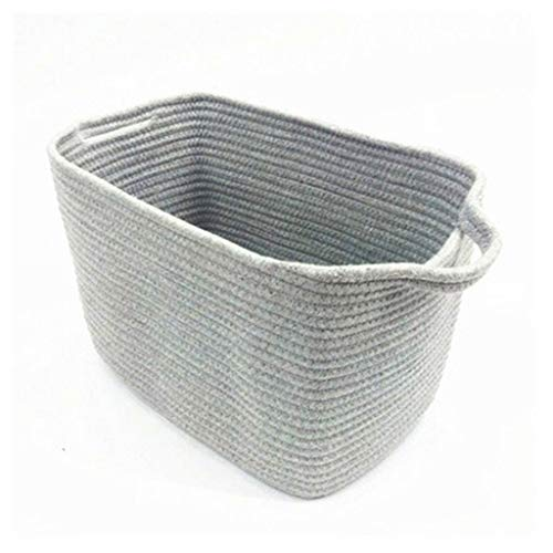 NXYJD Cotton Rope Woven Basket with Handles, for Books Magazines Toys Decorative Rectangle Basket, for Baby Nursery Living Room Bathroom (Color : A)