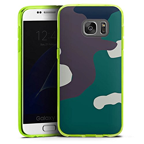 DeinDesign Silikon Hülle transparent neon grün kompatibel mit Samsung Galaxy S7 Case Schutzhülle Camouflage Bundeswehr Tarn Muster