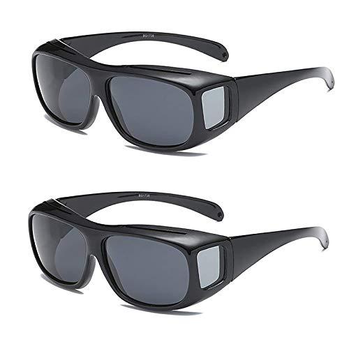 ÜBer Verschreibungspflichtiges Rx Rechteckige Passform ÜBer Brille Sonnenbrille & Seitenschutz Objektivlinse Nachtverpackung Um UV-Schutzbrille Unisex Tragen,Grau
