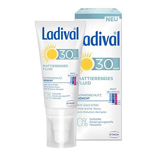 LADIVAL Mattierendes Fluid LSF 30, Parfümfreies Sonnenfluid für das Gesicht mit Anti Glanz Effekt, ohne Farb- und Konservierungsstoffe, 50 ml