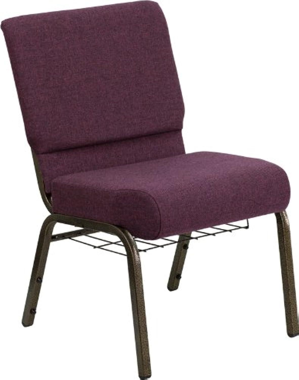 Flash Furniture FD-CH0221-4-GV-005-Bas-GG Hercules Series 21-Inch Extra Wide Plum Church Chair gold Vein Frame