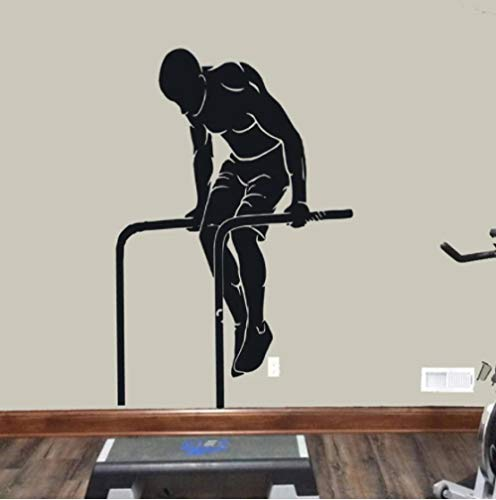 Entrenamiento de la calle Calcomanía de la pared, atleta Gymnastic Vinyl Etiqueta Garaje Gimnasio Muro de la pared, Muscle Man Art Decoration Murales 42x63cm