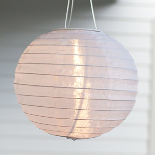 Lights4fun 6er Set LED Solar Lampion Garten Deko Weiß
