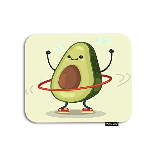 Moslion Fruit Mouse Pad Cute Avocado Doing Exercise with Hula Hoop Gaming Mouse Pad Rubber Large Mousepad for Computer Desk Laptop Office Work 7.9x9.5 Inch Green