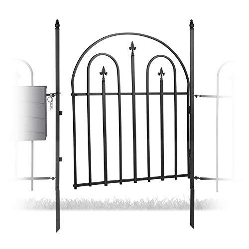 Relaxdays Gartentor Metall GOTH mit Pfosten, Antik Design Stil, 120 cm hoch, 90 cm breit, Rundbogen Gartentür, schwarz