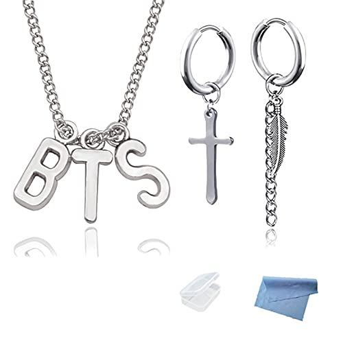 XHBTS Kpop Colgante B.T.S Collar y Pendiente de Pluma y Cruz para Hombres Mujeres Adolescentes con Mini Tela y Mini Caja