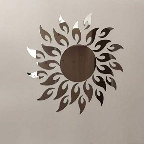 VIOYO Muursticker Zon Acryl 3D Sticker Spiegel Ring Muurstickers Goud