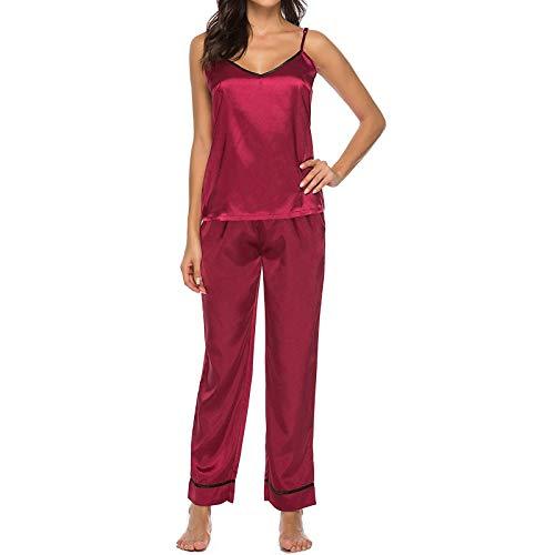 Ghemdilmn Satin Schlafanzug Zweiteiliger Seide Pyjama Set für Damen Einfarbig Nachtwäsche V-Ausschnitt Pyjama Set Kurzarm Off Schulter Top & Lange Hosen Nachtwäsche