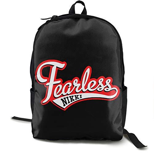 N / A Nikki Bella Logo Fearless Classic Backpack Schoolbag Black Bag Polyester Unisex School Work Travel