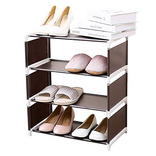 NAINAIWANG Zapatero de 4 Niveles 8 Pares Organizador Almacenamiento de Estante de Zapatos no Tejido Botas Torre de Zapatos apilable y Duradera para Espacios pequeños y Estrechos Armario