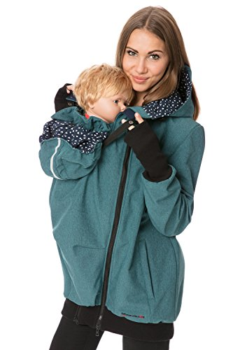 GoFuture Damen Tragejacke für Mama und Baby 4in1 Känguru aus Concordia Softshell + Baumwollmischung LOVEWINGS GF2395XA in Petrol Melange mit weißen Dreiecken auf Marine