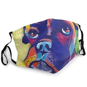 Men Women Comfortable Adjustable Face Balaclava Fashion Facial Masks Bandana with 2 Pcs Filters Washable Reusable Mouth Cover Animal Boxer Dog
