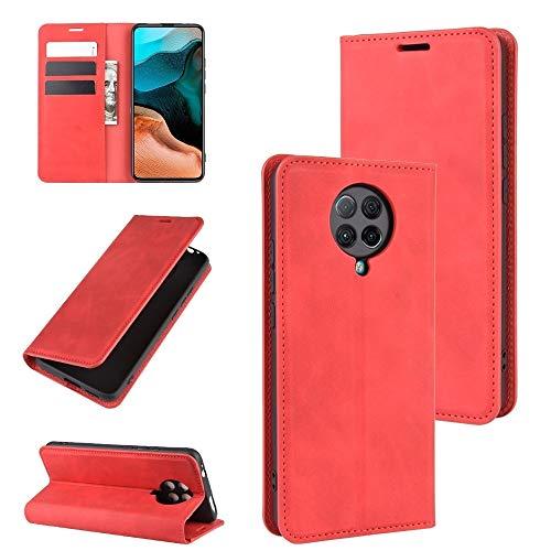 Liluyao Funda telefónica para Xiaomi For Xiaomi redmi K30 Pro Retro de los Negocios de la Piel magnética de succión de Cuero del Caso con el sostenedor y Ranuras for Tarjetas y Monedero (Color : Red)