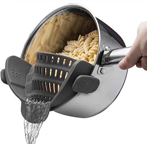 Colador de olla de silicona Colador ajustable a presión que se adapta a todas las ollas y tazones, Colador de olla resistente al calor Clip en el colador de silicona para escurrir pasta (black)