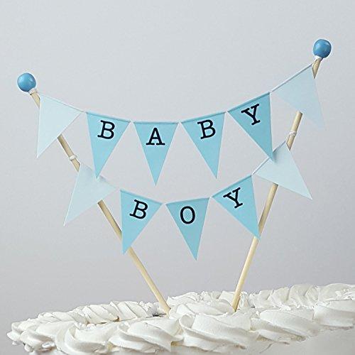 amazing buntings, Baby Boy Kuchentopper , Blau Pastell, Vollständig zusammengebaut, Hochwertige Handgefertigte Dekoration, 190