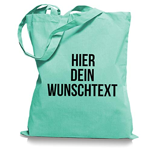 Stoffbeutel Jutebeutel mit Wunschtext/Selber gestalten mit dem Amazon T-Shirt Designer/Beutel Druck/Designertool Tragetasche/Bag/Jutebeutel WM1-mint