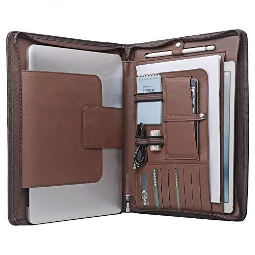 XIAOZHI Laptop Portfolio Organizer Case for Surface Book 2 /MacBook Pro 15 inch, MacBook Laptop Folio Case with Organizer Pocket, NM034-Brown