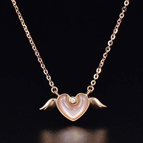 HXUJ 18 Quilates de Color Rosa Amor Collar de Oro Rosa Pendientes de Concha Blanca de circonio