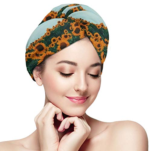Yellow Sunflowers Field Blue Sky Microfiber Dry Hair Cap for Bath Spa Soft Super Absorbent Quick Drying Towel Wrap Wet Hair Turbans 11 inch X 28 inch