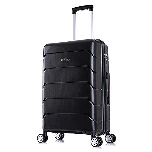 YASB Anti-Compression And Anti-Drop Travel Luggage, Silent And Shock Absorption Multi-Speed Lever Code Lock Suitcase,Black,L
