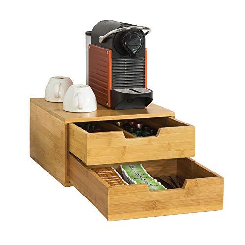 SoBuy FRG82-N Portacapsule nescafe dolce gusto Cassetto porta capsule in legno massello di bambù