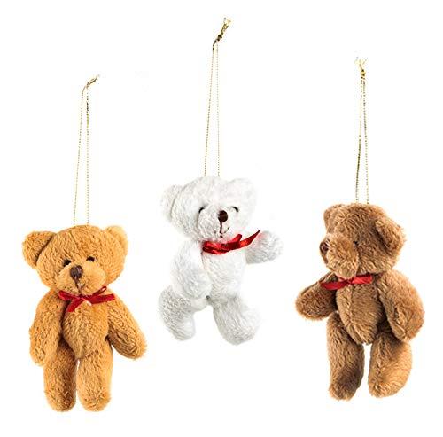 Logbuch-Verlag 3 mini ositos colgantes marrón y blanco – Oso de peluche con cuerda de 9 cm – pequeño regalo amuleto de la suerte para niños