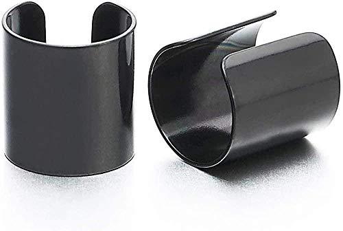 YOUZYHG co.,ltd 2pcs Clip de puño de Oreja de Acero Inoxidable Negro no perforante en los Pendientes de los Hombres