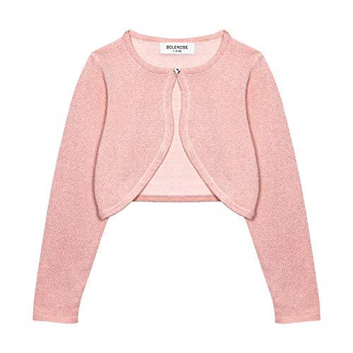 Bolerose Girls Long Sleeve Sparkle Cardigan Childrens Kids Bolero Shrug (Baby Pink, 11-12 YRS)