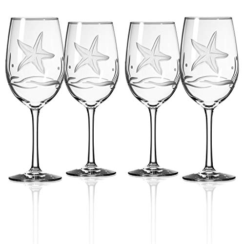 Rolf Glass Starfish All Purpose Wine Glass 18 Ounce - Set of 4 Large Wine Glasses - Lead Free Crystal Glass - Engraved Large Wine Glasses - Made in the USA