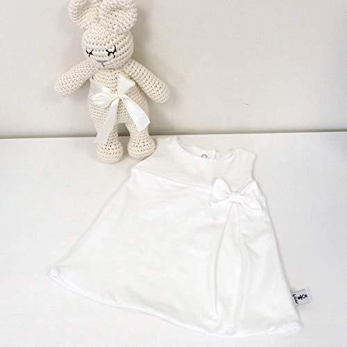 Taufkleid - Kleid mit Kellerfalte - Uni Weiß - mit Schleife oder Spitze