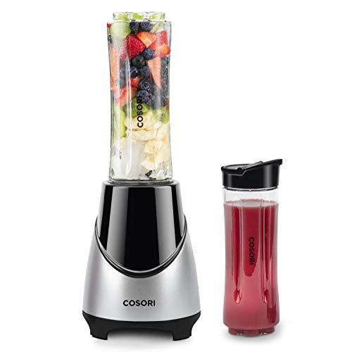 COSORI Mixer Smoothie Maker, Mini Standmixer Mix&Go Blender mit 6 Edelstahlmesser, inkl. 2x 600ml Tritan Flaschen&Deutsche Rezepte für Shake, Smoothie, Eis, Getränk von Obst und Gemüse, 300W, BPA frei