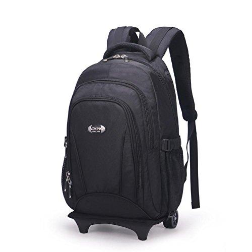 ZXJ Sac à Dos Poids léger Rotation à 2 Roues 360 ° Portable Daypack 15.6 Sac à Dos pour Entreprise/Voyage/Bagage/Valise, Black