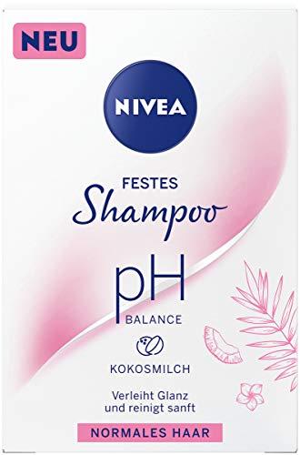 NIVEA festes Shampoo pH Balance für normales Haar (75 g), sanft reinigendes Festshampoo mit Kokosmilch, pH-optimiertes Shampoo mit veganer Formel