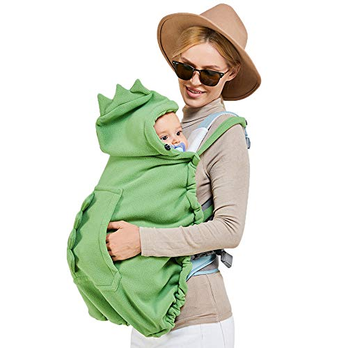 Zimo Stroller Cover and Baby Carrier Cover Hooded Stretchy Cloak for Baby Hooded Reversible Suit for All Seasons Green
