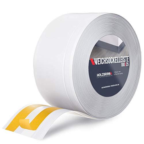 HOLZBRINK Weichsockelleiste selbstklebend Weiß Knickleiste, Material: PVC, 100x25mm, 25 Meter
