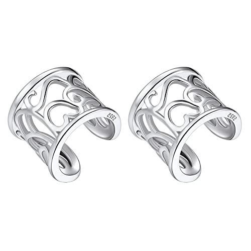 Silvercute - Pendientes de hélice, no perforados para mujer, plata 925, falsa piercing para cartílago plateado,