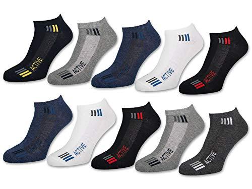 10 Paar Sneaker Socken Herren SPORT Baumwolle Sportsocken - 16735 (43-46, 10 Paar | Farbmix)